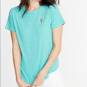 Old Navy Turquoise Ladies Lobster T Shirt